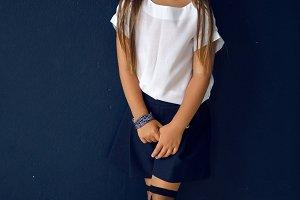 girl in white shirt posing