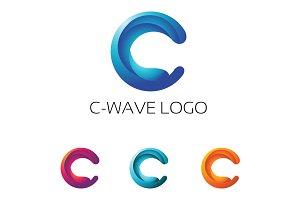 C Wave 3D Modern Letter Logo