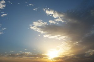 Fantastic golden sunset horizon sky clouds photo