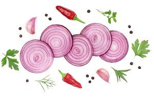 onions, garlic, hot pepper and spices isolated on white background. Top view