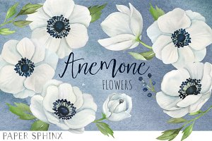 Watercolor Anemone Flower Pack