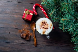Coffee latte mug with cinnamon
