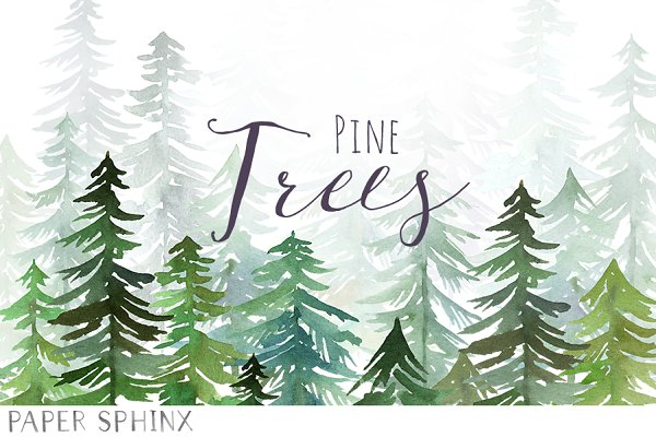 Watercolor Pine Trees Pack