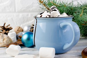 Christmas hot cocoa in blue cup