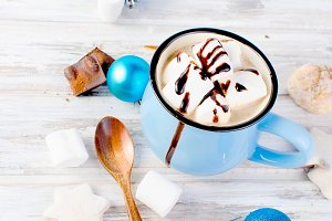 Christmas hot cocoa with marshmallow