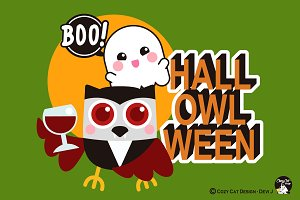 Digital Clipart  Hall-OWL-Ween
