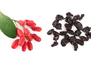 dried and fresh barberry with leaves isolated on white background. top view