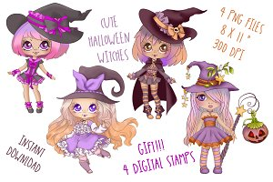 Cute Halloween Witches Clipart Set