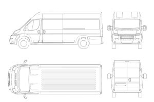 Commercial vehicle or Logistic car outline. Cargo minivan isolated on white background. View front, rear, side, top. All elements in groups on separate layers