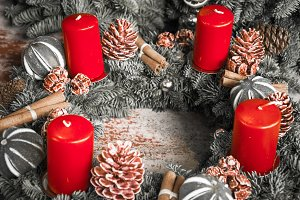 Advent wreath with four red candles