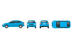 Set of blue Sedan Cars. Isolated car, template for car branding and advertising. Front, rear , side, top Change the color in one click All elements in groups on separate layers