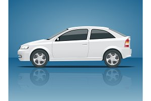 Set of blue Sedan Car. Template for auto branding and advertising. View side. Change the color in one click All elements in groups on separate layers.