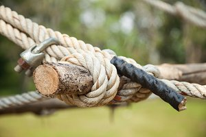Rope fastened to the timber.