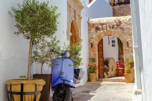 Vespa in Lindos, Rhodes, Greece.