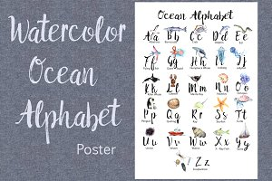 Watercolor Ocean Alphabet Poster