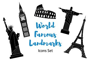 World Famous Landmark Icon Set