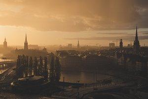 Stockholm golden sunset