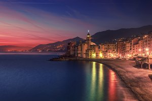 Camogli city at night