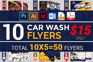 10 Car Wash Flyers Bundle 90% OFF