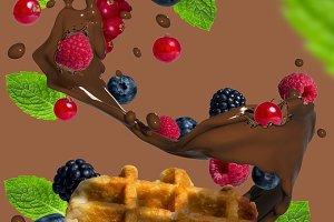 Waffle fruit splash