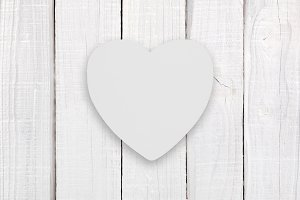 Blank white wooden heart