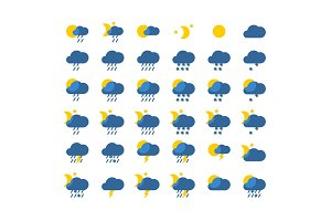 Vector weather icon set flat style