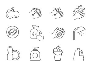 Hygiene line icons