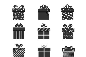 Black gift box icons