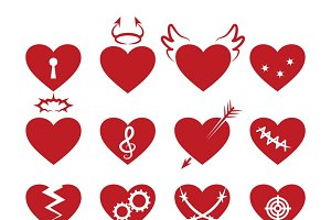 Simple abstract heart shapes icons