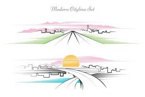 Modern linear cityscape set