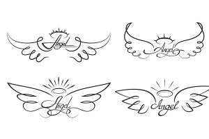 Winged angelic tattoo icons
