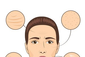 Woman skin problem illustration