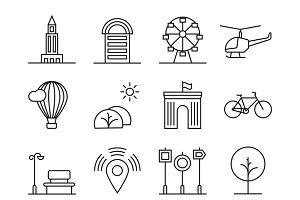 House urban landscape icons