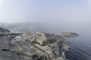 Fog in the Ladoga skerries.