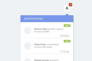 Clean notification dropdown designs