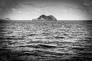 Small island in black and white