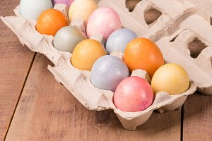 Carton of naturally dyed Easter eggs