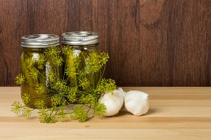 Jars of pickles and dill