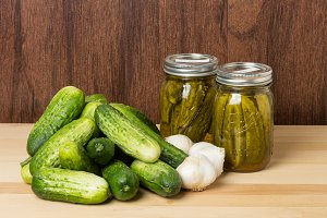 Pickles garlic and jars