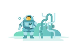 plumber Man in diving dress wet suit came to repair pipes with a wrench. Water pipes