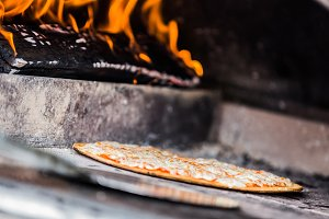 Wood Fire in Pizza Oven