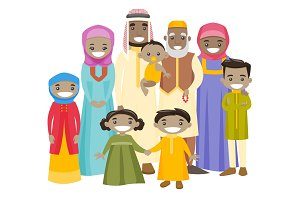 Happy extended muslim family with cheerful smile.