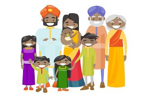 Happy extended indian family with cheerful smile.