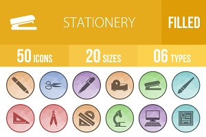 50 Stationery Low Poly B/G Icons