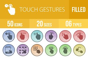 50 Touch Gestures Low Poly B/G Icons