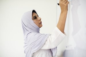 Muslim teacher teaching in classroom
