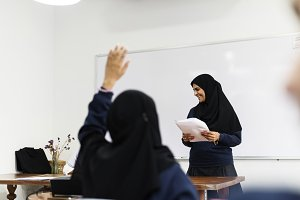 muslim children in classroom