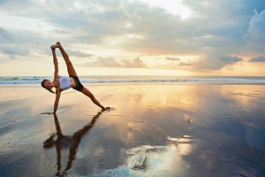 Fitness on the sunset beach