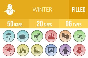 50 Winter Low Poly B/G Icons