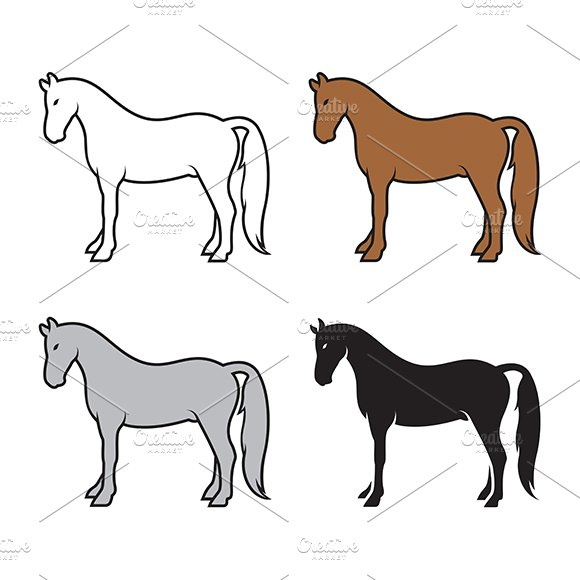 Group Of Horse On A White Background
